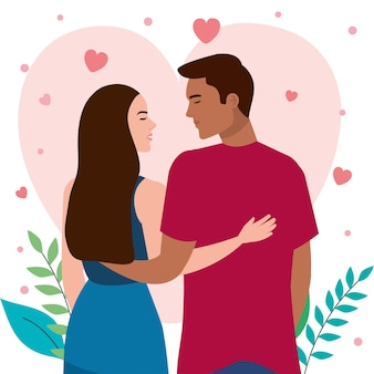 若い異人種間の愛好家はロマンチックなキャラクターをカップルします