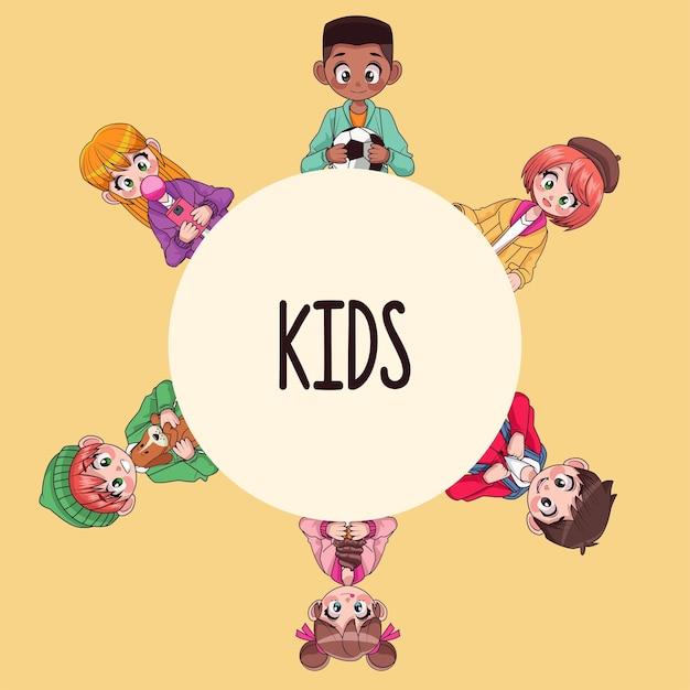 Молодые межрасовые подростки дети вокруг слов аниме персонажей