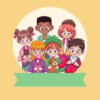 Молодые межрасовые подростки с персонажами ленты