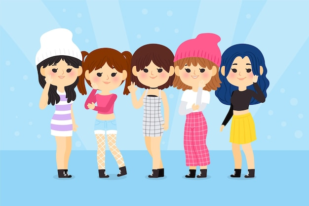 Gruppo di giovani ragazze k-pop
