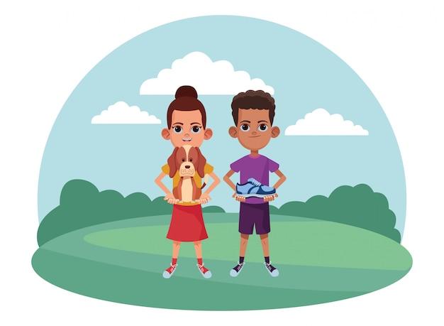 Молодые дети аватар картонный персонаж