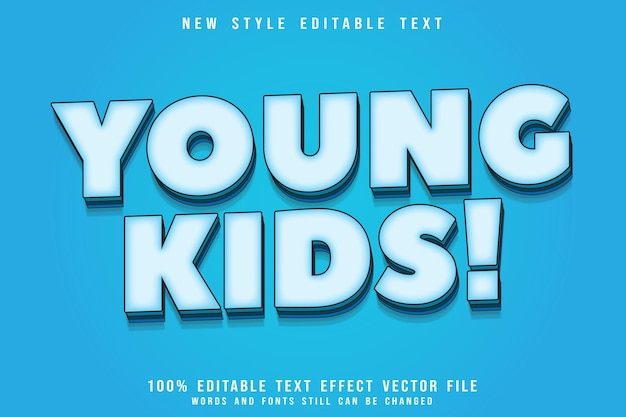 Young kids editable text effect emboss comic style