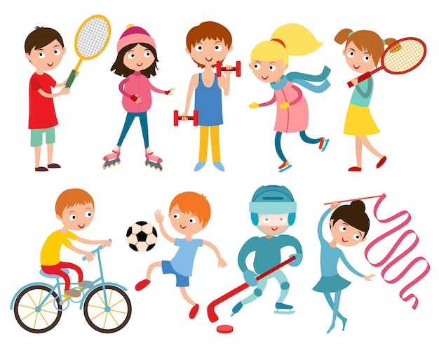 Young kids sportsmens isolated