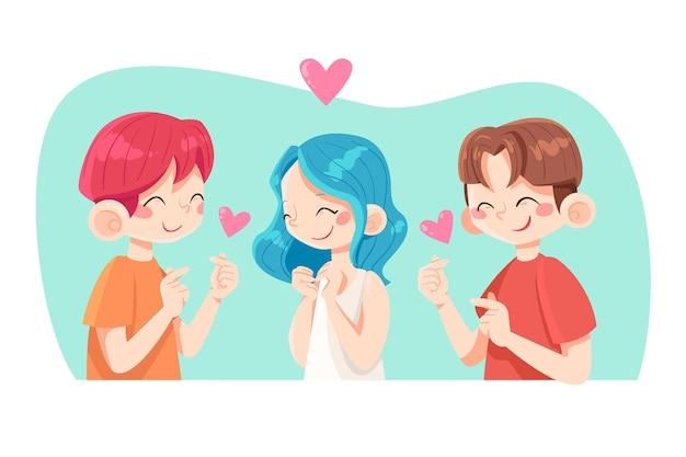 Молодые корейцы делают сердце пальцем