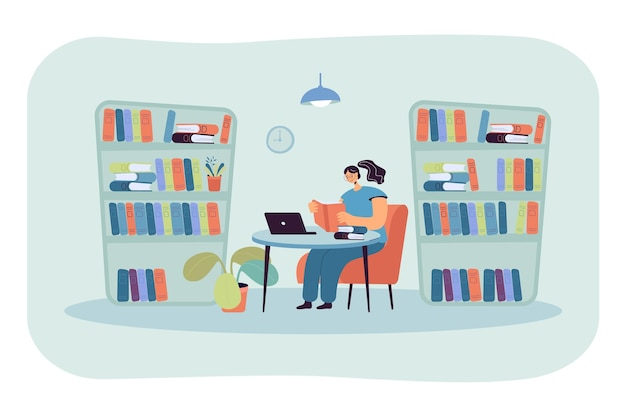 Young lady sitting at desk in library and reading book. girl studying in room with bookcases flat illustration