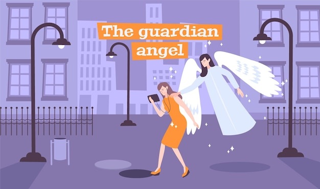 Young lady walking deserted street gets message of guardian angel illustration