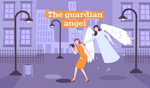 버려진 거리를 걷는 젊은 아가씨가 수호 천사 그림의 메시지를 가져옵니다.