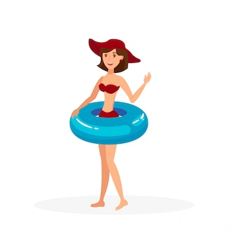 Young lady with lifebuoy flat color illustration