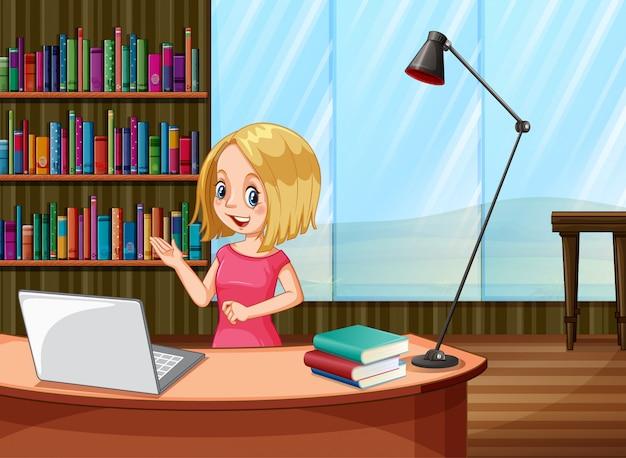 在宅勤務の若い女性