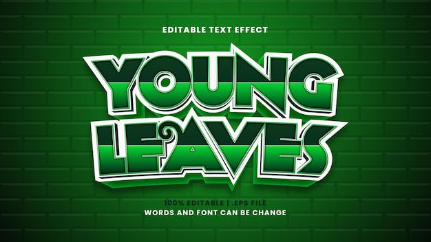 Young leaves editable text effect in modern 3d style