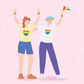 Young lesbian women celebrating gay rights