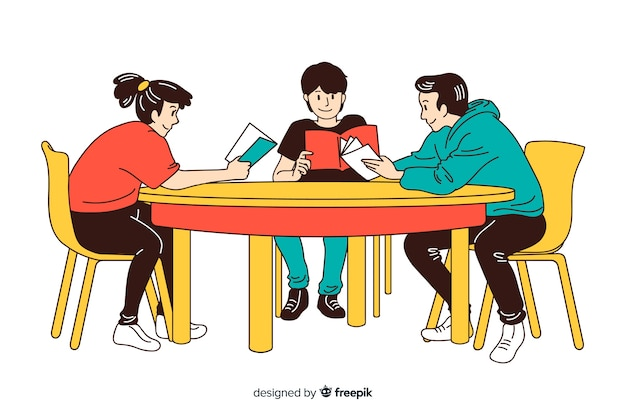 Young listening to music in korean drawing style