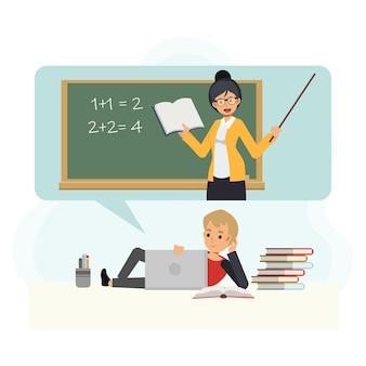 Молодой маленький мальчик студент отдыхает и учится онлайн дома