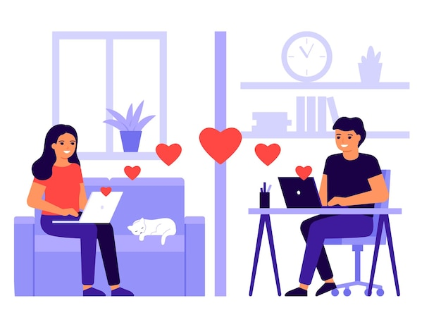 젊은 연인 부부는 온라인 화상 통화에서 거리를 만납니다. 집에서 인터넷으로 마음과 원격 통신합니다. 남자와 여자는 노트북에 온라인으로 이야기합니다. 사랑의 의사 소통, 데이트. 발렌타인 데이.