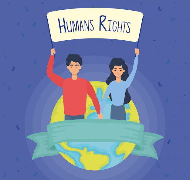 Young lovers couple with human rights label and earth planet vector illustration design