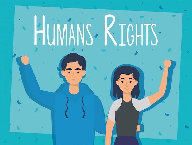 Пара молодых влюбленных с дизайном иллюстрации вектора ярлыка прав человека