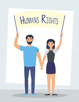 Young lovers couple with human rights label vector illustration design