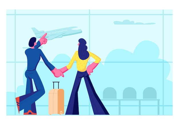 Young loving couple going for leisure. man and woman stand in airport terminal waiting flight watching flying airplane through window. summer time vacation, honeymoon. cartoon flat vector illustration