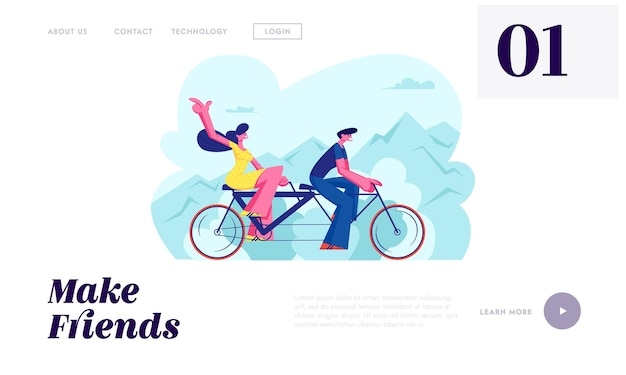 Young loving couple ride tandem bicycle. summer time vacation sparetime, leisure, romantic voyage. love relations. bike cycling website landing page, web page. cartoon flat vector illustration