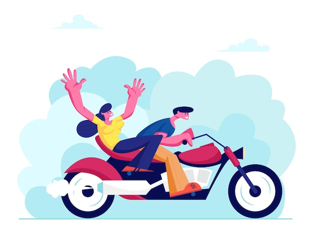 Young loving couple riding motorbike at summer time weather