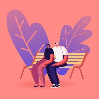 シティパークのベンチに座っている若い愛情のあるカップル。愛、アウトドアサマースペアタイム、レジャー。漫画イラスト