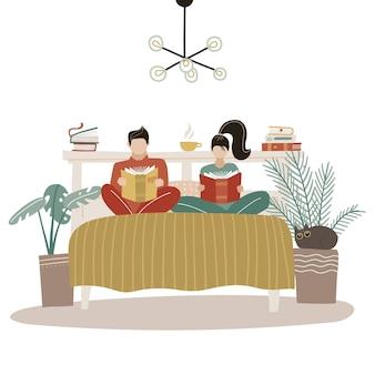 Молодая влюбленная пара вместе проводить время в спальне, читая прикроватные книги. скандинавский интерьер с простой мебелью и растениями. плоский рисунок