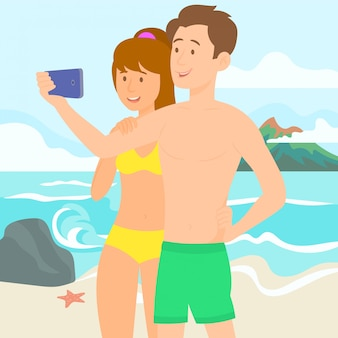 Young loving couple at tropical island