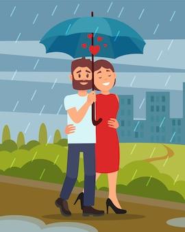 傘を保持している男、雨の中で公園を歩いて若い夫婦。都市の建物。フラットなデザイン