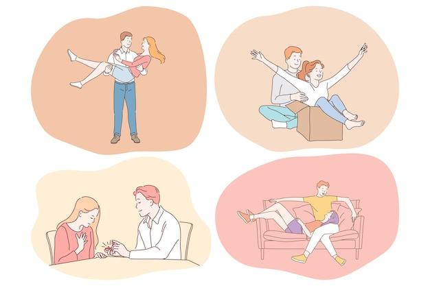 젊은 사랑하는 행복 한 커플 만화 캐릭터 재미