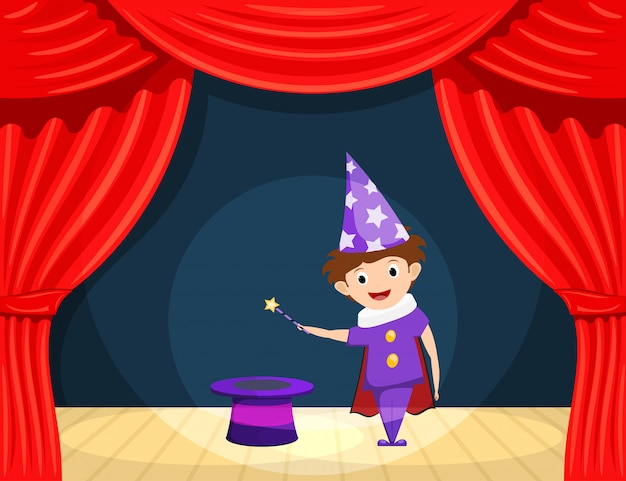 Young magician on stage. children's performance. small actor with a magic wand and cylinder on stage playing the role of a wizard.
