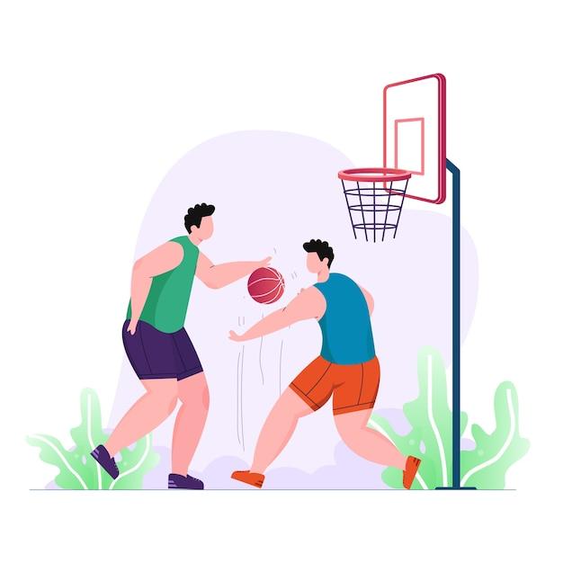 Молодой спортсмен-мужчина играет в баскетбол иллюстрации спортивной деятельности