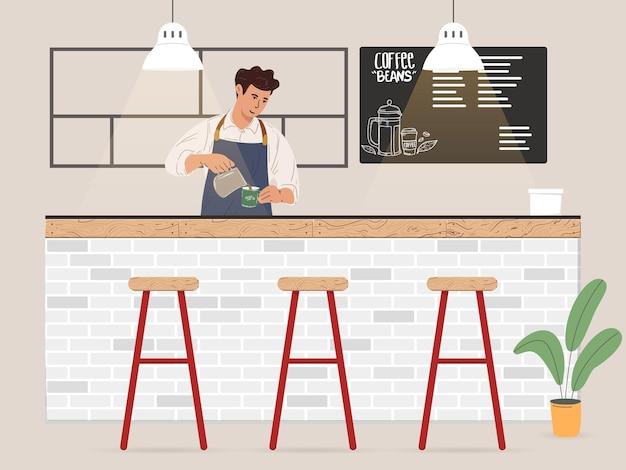 고객 일러스트레이션을 위해 커피를 만드는 젊은 남성 바리스타