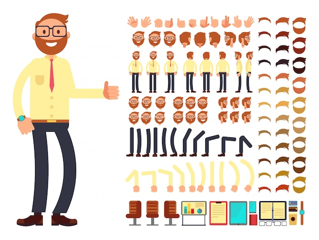 Young male businessman character with gestures set for animation. vector creation constructor