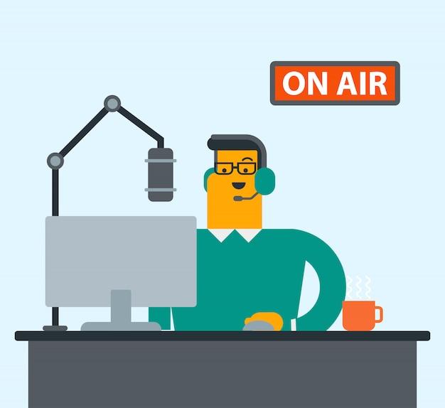 Young male caucasian dj working on radio.