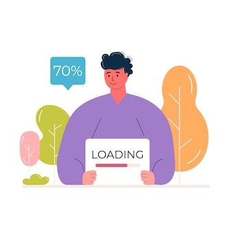 プログレスバーとポスターを保持している若い男性キャラクター。システムの更新とファイルのアップロードの概念。エコウェブページのバナーベクトルを読み込んでいます。