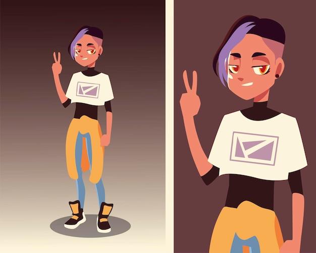Молодой мужской персонаж в молодежной культуре и модной одежде