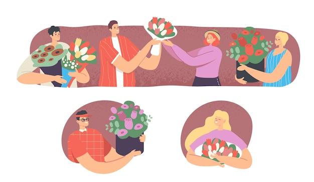 여성에게 꽃을 주는 젊은 남성 캐릭터. 즐거운 놀람, 휴일을 축하합니다. 기념일 또는 로맨틱 데이트