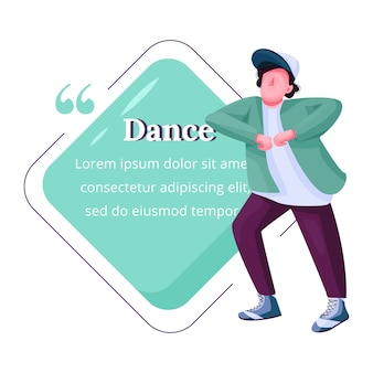 Young male dancer flat color character quote. guy free dancing, breakdance teenage male performer. citation blank frame template. speech bubble. quotation empty text box design