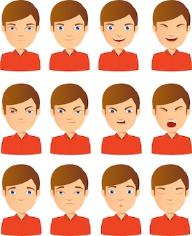 Young male face expression set