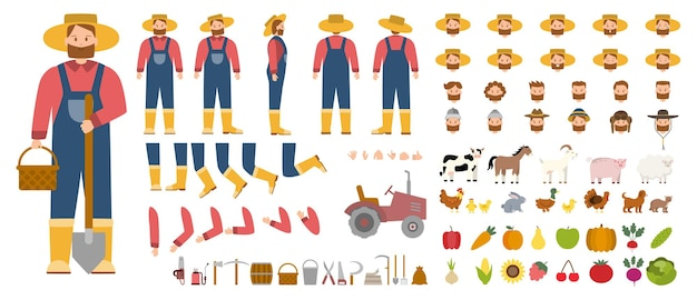 Young male farmer constructor set person working on a farm