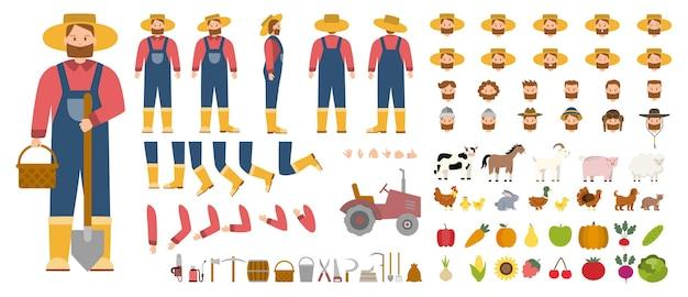 若い男性の農家のコンストラクターは、農場で働く人を設定します