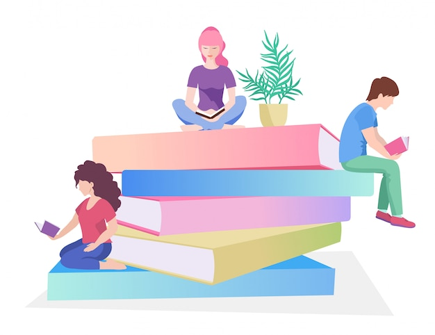 Young male and female readers sitting on stack of giant books or beside it and reading