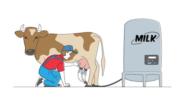 牛の搾乳のための自動機械を提示する制服を着た若い男性の乳搾り女のキャラクター。