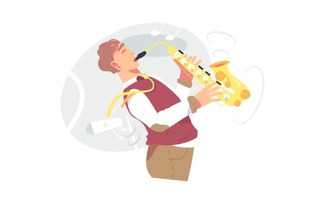 Молодой мужчина-музыкант играет на саксофоне векторные иллюстрации. саксофонист, играющий на дутьевом музыкальном инструменте, оркестрант джазмена с плоским стилем саксофона. музыка, концепция хобби. изолированные на белом