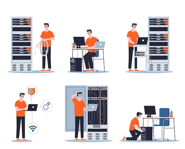 Young male sysadmin set. collection of man working