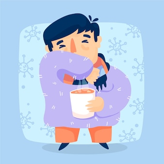 Young male with symptoms coughing and holding a cup