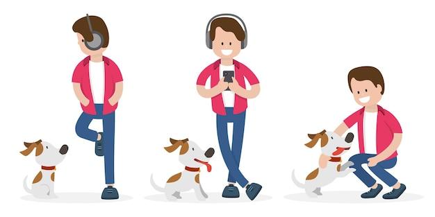 異なるポーズの若い男と犬。孤立した人々のベクトル図