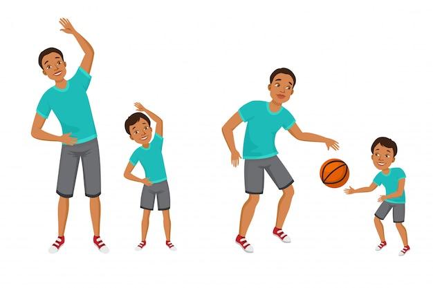 若い男の子、男の子、スポーツ、服、楽しむこと、体操