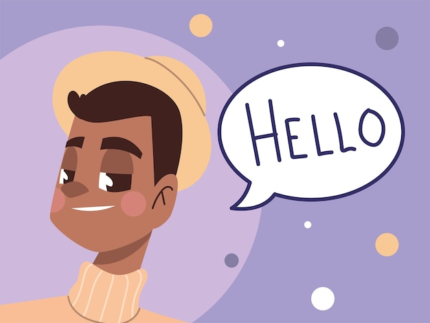 만화 그림에서 젊은 남자와 안녕하세요 텍스트 캐릭터 아바타
