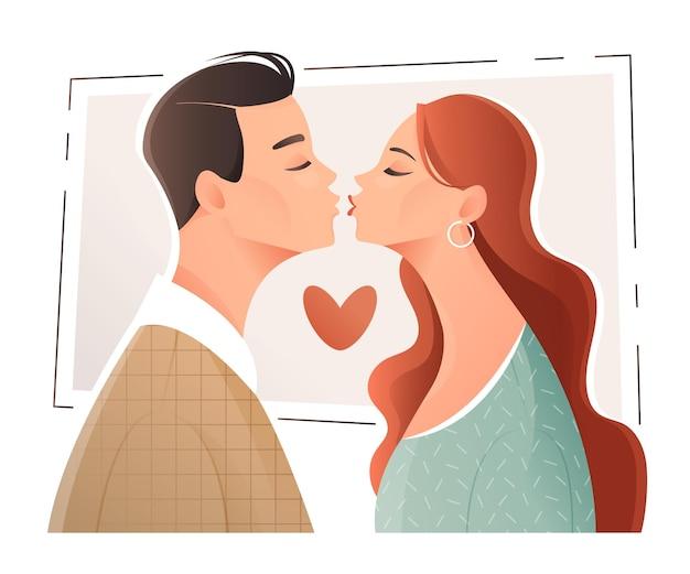 若い男と女はイラストにキスするつもりです